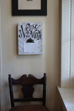 Make a board like this to hold your Bible Drill verse on that you or your students are memorizing. Chevron Clip Verse of the Week Frame khaki chevron by kijsa Wood Projects, Projects To Try, Diy Gifts, Wood Signs, Repurposed, Diy And Crafts, Chevron, Wall Decor, Wall Art