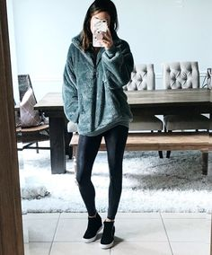winter outfits leggins Is it too cold outside A wa - winteroutfits Leggings Outfit Winter, Cute Outfits With Leggings, Boots And Leggings, Spanx Faux Leather Leggings, How To Wear Leggings, Sweaters And Leggings, Tops For Leggings, Leggings Fashion, Printed Leggings