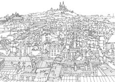 paris+line+by+line+robinson | paris rooftops line drawing of parisian rooftops pen and ink on paper ...