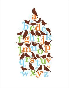 Alphabird Poster by aruppel on Etsy