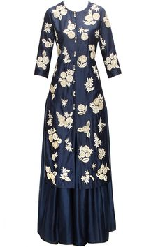 Midnight blue floral embroidered kurta with lehenga available only at Pernia's Pop-Up Shop.