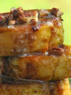 Pumpkin Pie French Toast with Pecans and Syrup