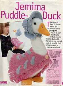 ALAN DART - JEMIMA PUDDLE-DUCK - BEATRIX POTTER ORIGINAL TOY KNITTING PATTERN...