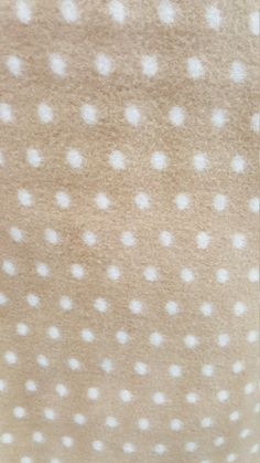 Light Gold and White Polka Dot Print Fleece Fabric by the yard