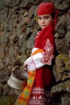 Child of the Pirin Mountain Region in Bulgaria. The Pirin Mountains (Bulgarian: Пирин) are a mountain range in southwestern Bulgaria.