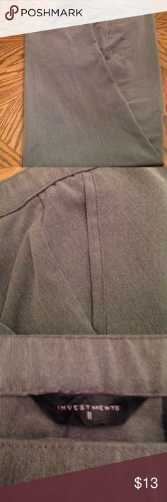 Dress pants Smokey grey, 63% polyester, 32% rayon, 5% spandex.  These are nice for the office or a night out.  Smokey grey goes with everything.  Like new. Investments II Pants Trousers