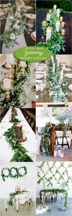 Greenery wedding table floral garland centerpiece decor / http://www.deerpearlflowers.com/greenery-wedding-decor-ideas/2/