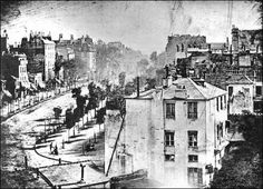 """by Louis Daguerre Boulevard du Temple, Paris This is """"Boulevard du Temple"""", the first ever photograph of a person. The photo was taken by Louis Daguerre in late 1838 or early 1839 in Paris. Photographs Of People, Pictures Of People, Vintage Photographs, Old Pictures, Old Photos, Louis Daguerre, History Of Photography, White Photography, Famous Photography"""