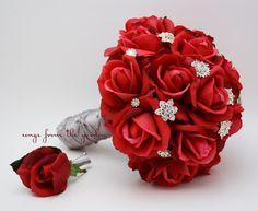 Red Roses & Rhinestones Bridal Bouquet Real by SongsFromTheGarden