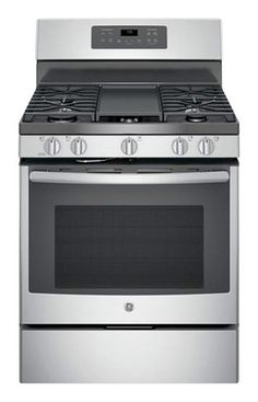 GE - 5.0 Cu. Ft. Self-Cleaning Freestanding Gas Convection Range - Stainless Steel/Gray - Larger Front