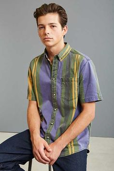 UO '90s College Stripe Short Sleeve Button-Down Shirt