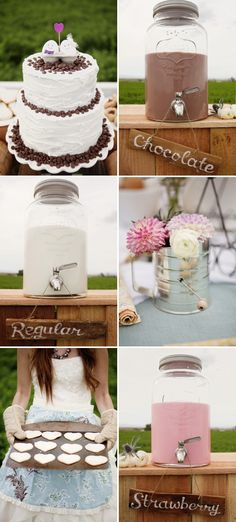 i love the milk dispensers... milk+cookies shoot by www.loveandlavender.com via Stylemepretty