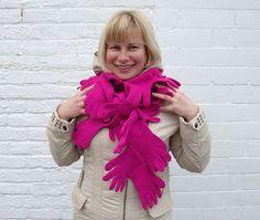 Women scarf Fucsia Hugs unique long scarf unusual by OlgaArtShop