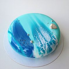 It's time to go to the sea and to order a tasty cake from Basil Bakery. Inspired by the sea. This cake is a special order for a couple who are celebrating their wedding anniversary. Beautiful Desserts, Beautiful Cakes, Amazing Cakes, Cupcakes, Cupcake Cakes, Artist Cake, Galaxy Cake, Pink Lila, Mirror Glaze Cake