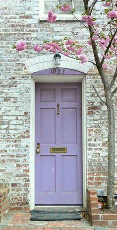Pretty lavender front door.