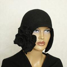 Black hat  Felted hat Felt hat Hat felted 1920s  Great