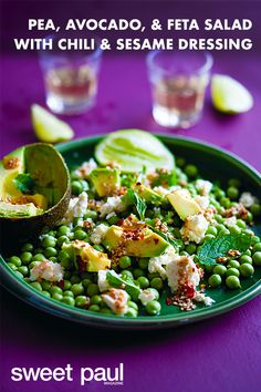 Fresh Shelled Pea, Avocado, & Feta Salad with Chili & Sesame Dressing - This salad is a great way to fill up a tortilla; try it with ceviche, a bit of crispy bacon, or just on its own with a few leafy greens. My Favorite Food, Favorite Recipes, Vegetarian Menu, Sweet Paul, Create A Recipe, Feta Salad, Stuffed Shells, Vegetable Salad, Salad Recipes