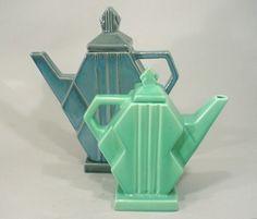 Art Deco teapots. @designerwallace
