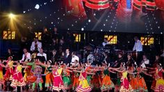 Dancers perform on stage at Wembley Stadium prior to Indian Prime Minister Narendra Modi speaking
