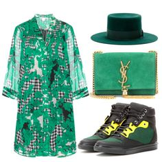St Patrick's Day outfit idea #green #saintlaurent #bag #hat #balenciaga #sneakers