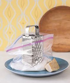 Zippered Plastic Bag as Grated Cheese Catcher | New roles for items that can help you get dinner on the table.