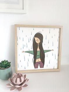 Illustration numérique encadrée. J'adore la pluie. Dessin affiche encadrée pour mon atelier.