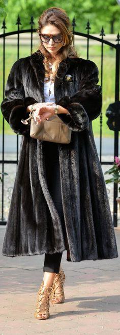 Classic black mink fur coat