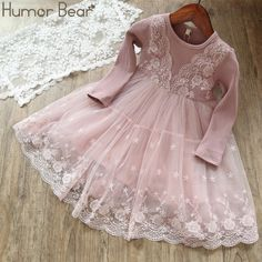 72290339ae2 Humor Bear Girls Dress 2019 Spring Casual Long Sleeves lace Mesh Kids  Dresses For Girl Autumn