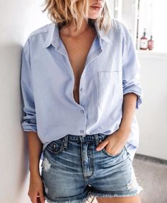 Lightblue buttondown with broken denim shorts. Women Fashion Outfits to copy at home right now. Easy to imitate. - shirts, black, football, casual, fashion, long shirt *ad