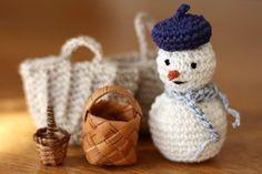 ベレー帽の雪だるま_かぎ針編み