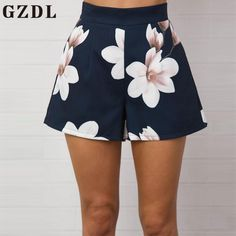 b4b52eb0810 GZDL Fashion Navy Blue Floral Print Women Shorts Summer High Waist Casual  Pockets Zipper Back Ladies Beach Mini Shorts CL3872
