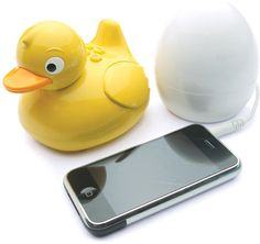 WHAT?! plug your phone into the egg and you can take the waterproof ducky into the bathtub or shower with you and it wirelessly transmits your music!     I WANT THIS NOW! :)