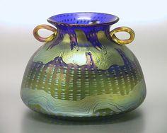 "Johann Lötz Witwe, Klostermühle, Iridescent Glass Vase with applied handles. Decor: ""Cobalt Phänomen Gre 1/158"""