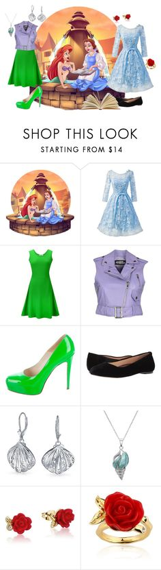 """Ariel and Belle"" by gryffindormermaid ❤ liked on Polyvore featuring Disney, WithChic, Jeremy Scott, Brian Atwood, Walking Cradles, Bling Jewelry and La Preciosa"
