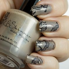 Polish is 'in bare form' by KBShimmer. The beautiful lace stamp is from the DRK enlaced plate.