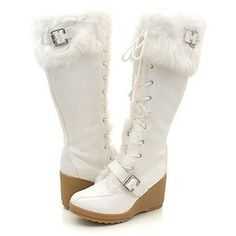 Snow Boots for Women | shoes boots classy furry wedge winter snow white boots women s boots ...