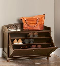 Wooden Shoe Storage Chest With Handle