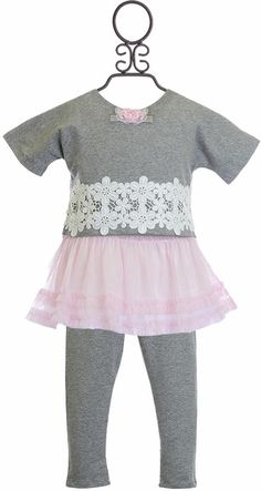 Mini Mini Girls Tutu Top and Leggings with Flowers & Toddler Outfits, Kids Outfits, Kids Fashion, Autumn Fashion, Baby Girl Boutique, Mini Mini, Tutus For Girls, Tops For Leggings, Grey Fabric