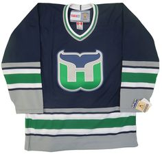 Hartford Whalers CCM Vintage 1992 Replica Blue NHL Hockey Jersey