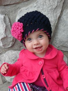 crochet baby hat, childrens hat, custom colors, hat with flower, baby girl hat, girl hat, kids hat