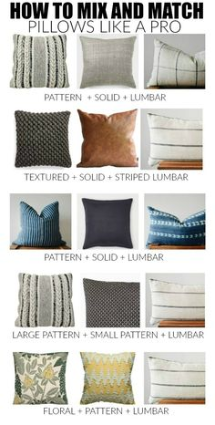Couch Pillows 415668240609358584 - How to master the perfect pillow combinations: 10 no fail combinations and tips to easily mix and match throw pillows like a pro! Living Room Pillows, Sofa Pillows, Home Living Room, Living Room Designs, Living Room Furniture, Diy Throw Pillows, Gray Couch Living Room, Colorful Throw Pillows, Modern Throw Pillows