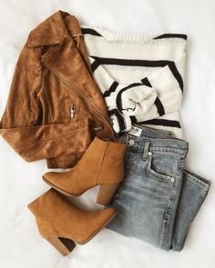 Suede with Love Tan Suede Moto Jacket - Fall Outfits Look Fashion, Teen Fashion, Fashion Outfits, Womens Fashion, Fashion Trends, Fashion Flatlay, Fashion Clothes, Feminine Fashion, Fashion Pics