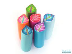 Blue Leaf Cane, Purple, green and light blue Polymer clay millefiori Leaf cane…