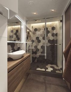 Salle de bain carreaux hexagonaux