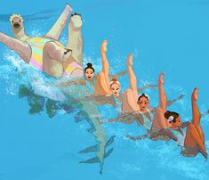 When summer comes they practice synchronized swimming for a team moral :) Thank you very very much everyone for supporting my artworks! I am soooo humbled and grateful! Jurassic World, Jurassic Park, Illustrations, Illustration Art, Synchronized Swimming, Prehistoric Creatures, Cool Drawings, A Team, Cute Art