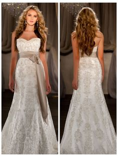 A-line Sweetheart Embroidered Lace and Beading Throughout Wedding Dress