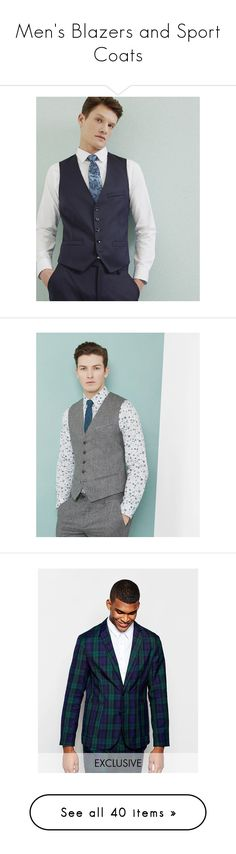 """""""Men's Blazers and Sport Coats"""" by illuminatab on Polyvore featuring men's fashion, men's clothing, men's outerwear, men's vests, dark blue, mens wool outerwear, mens wool vest, grey, mens grey wool vest and mens gray vest"""