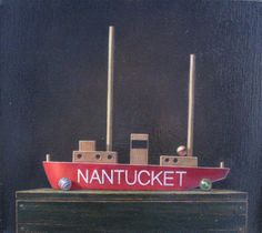 Artist: Darryl Zudeck  Title: Nantucket Lightship with Marbles  Media: oil on canvas  Size: 14.25 X 16.25 inches Framed Size: 17 X 19 inches Estimate: $4,500-$5,500