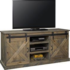 """Legends Furniture FH1420 Farmhouse 66"""" TV Stand Console Distressed Barnwood Sliding Barn Doors"""