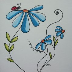 Little ladybug on blue flower lieveheersbeestje op blauwe bloem - Design: A Seco. Little ladybug o Doodle Drawings, Easy Drawings, Doodle Art, Watercolor Cards, Watercolor Flowers, Watercolour, Envelope Art, Flower Doodles, Mail Art